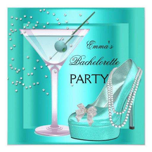 "Bachelorette Party Aqua Teal Blue Turquoise Shoes 5.25"" Square Invitation Card"