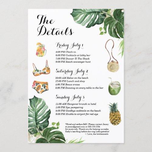 Bachelorette Party Beach Weekend Itinerary Invitation