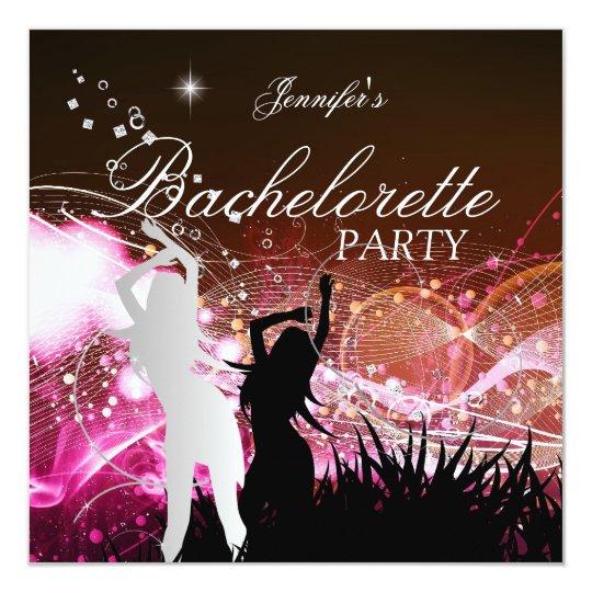 Bachelorette Party Black Pink White Silver Card