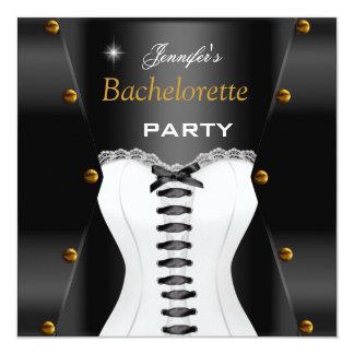 Bachelorette Party Black White Corset Gold Studs Card
