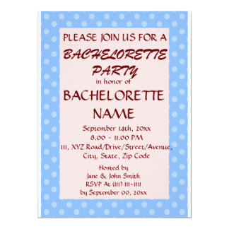 Bachelorette Party-Blue Polka Dots,Pink Background 6.5x8.75 Paper Invitation Card