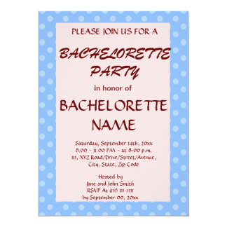 Bachelorette Party-Blue Polka Dots,Pink Background Card