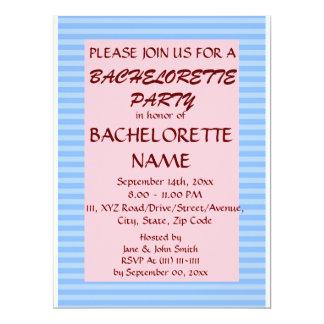 Bachelorette Party - Blue Stripes, Pink Background 6.5x8.75 Paper Invitation Card