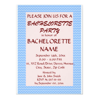 Bachelorette Party - Blue Zigzag, Pink Background 6.5x8.75 Paper Invitation Card