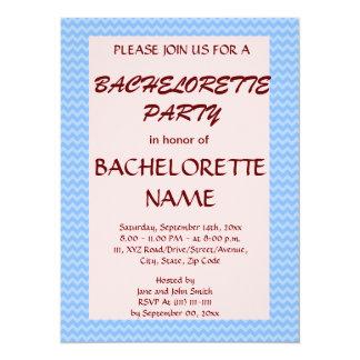 Bachelorette Party - Blue Zigzag, Pink Background Invitation