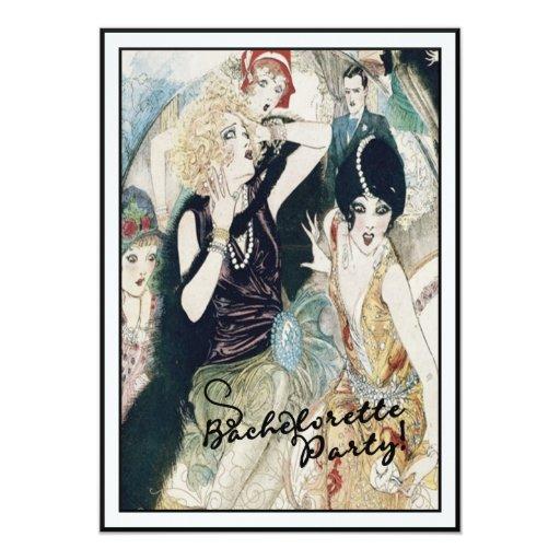 "Bachelorette Party Bridal Mayhem Vintage Art Deco 5"" X 7"" Invitation Card"