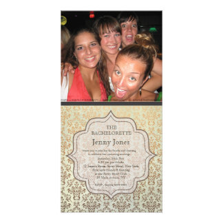 Bachelorette Party Caramel Damask Photo Invite Photo Card Template