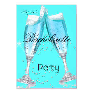 Bachelorette Party Champagne teal blue Card
