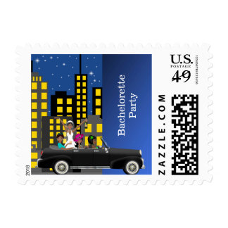 Bachelorette party city scape postage stamps