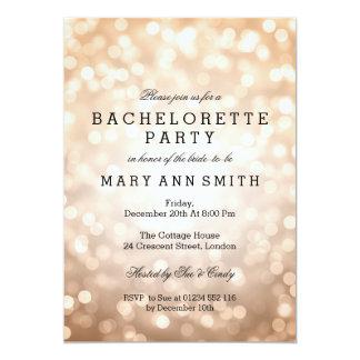 Bachelorette Party Copper Glitter Lights 5x7 Paper Invitation Card