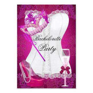 Bachelorette Party Corset Pink Shoes mask 3.5x5 Paper Invitation Card