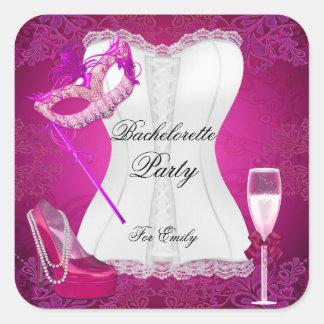 Bachelorette Party Corset Pink Shoes mask Square Sticker