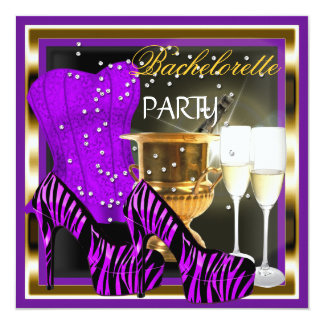 Bachelorette Party Corset Purple Zebra Gold Card