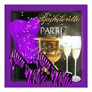 Bachelorette Party Corset Purple Zebra Shoes Card