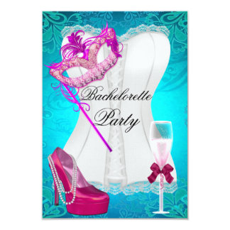 Bachelorette Party Corset Teal Pink Shoes mask 3.5x5 Paper Invitation Card
