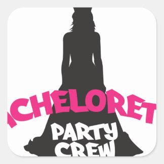 bachelorette party crew square sticker