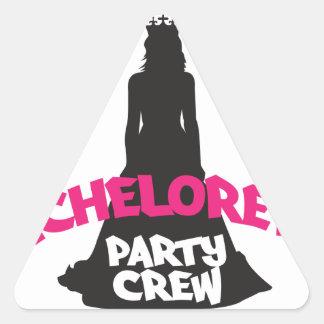 bachelorette party crew triangle sticker