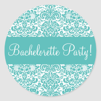 Bachelorette Party Damask Envelope Seal Classic Round Sticker