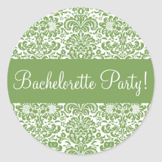 Bachelorette Party Damask Envelope Seal Stickers