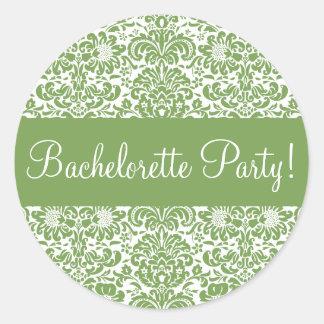 Bachelorette Party Damask Envelope Seal Stickers