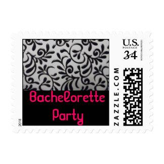 Bachelorette Party Damask Swirl Postage Stamp