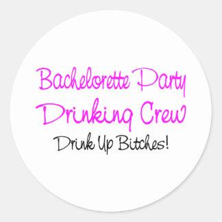 Bachelorette Party Drinking Crew Classic Round Sticker
