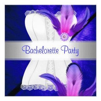 Bachelorette Party Feather Blue Invitations