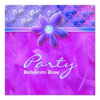 Bachelorette Party Feather Boa Lace Floral Violet 5.25x5.25 Square Paper Invitation Card