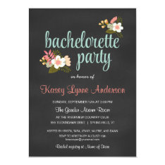 Bachelorette Party Floral Chalkboard Invitations at Zazzle