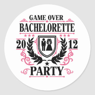Bachelorette Party Game Over 2012 Classic Round Sticker