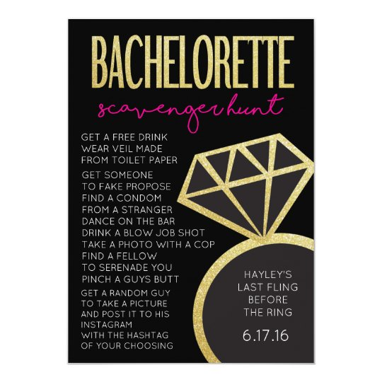 Bachelorette Party Game Scavenger Hunt Card