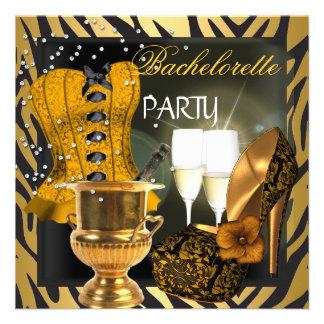 Bachelorette Party Gold Black Corset Shoes Invite