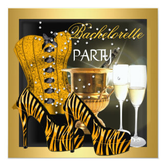 Bachelorette Party Gold Black Corset Zebra Shoes Card