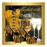 Bachelorette Party Gold Black Corset Zebra Shoes Custom Announcement