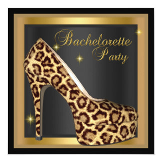 Bachelorette Party Gold Black Leopard Hi Heel Shoe Card
