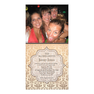 Bachelorette Party Gold Champagne Damask Invite Photo Card Template