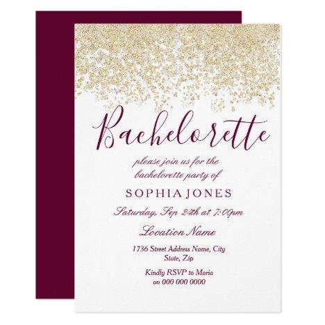 Bachelorette Party Gold Glitter Burgundy Invite