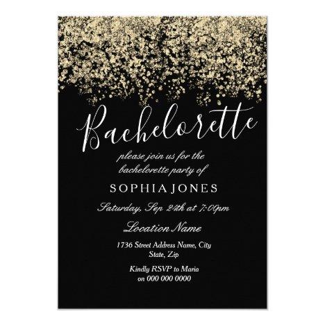 Bachelorette Party Gold Glitter Confetti Invite