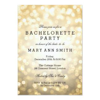Bachelorette Party Gold Glitter Lights 5x7 Paper Invitation Card