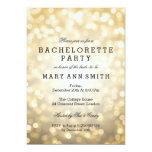 Bachelorette Party Gold Glitter Lights Card