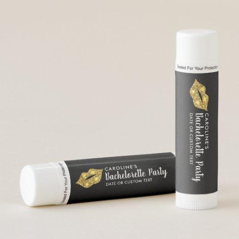 Bachelorette Party Gold Glitter Lips Fun Custom Lip Balm