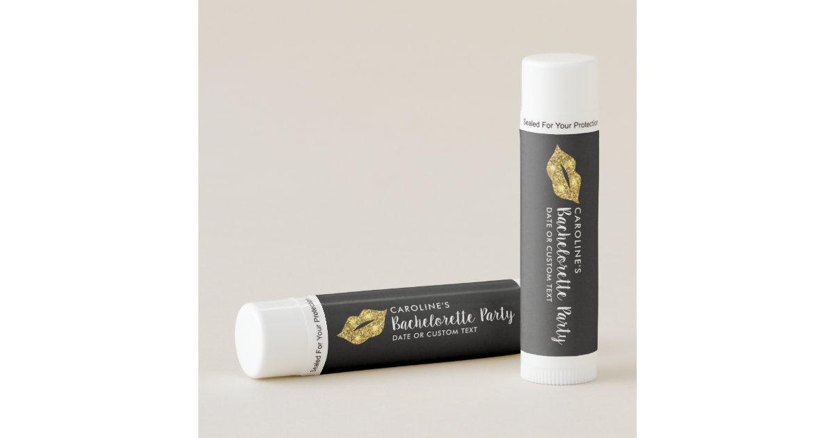 bachelorette party gold glitter lips fun custom lip balm zazzlecom - Custom Lip Balm