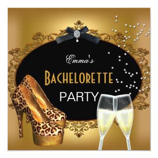 Bachelorette Party Gold Leopard Black Shoes 2 Card