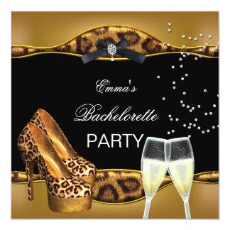 Bachelorette Party Gold Leopard Black Shoes Card