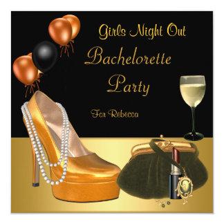 Bachelorette Party Gold Shoes Hi Heels Wine Glass Card