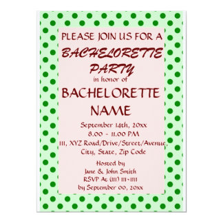 Bachelorette Party-Green Polka Dots,PinkBackground 6.5x8.75 Paper Invitation Card
