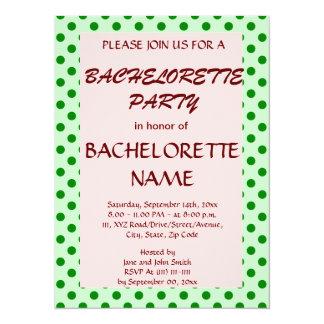 Bachelorette Party-Green Polka Dots,PinkBackground Card