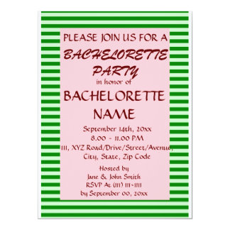 Bachelorette Party-Green Stripes, Pink Background 6.5x8.75 Paper Invitation Card