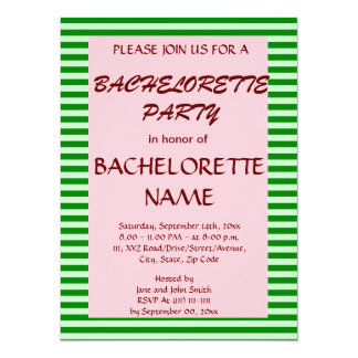 Bachelorette Party-Green Stripes, Pink Background Announcement