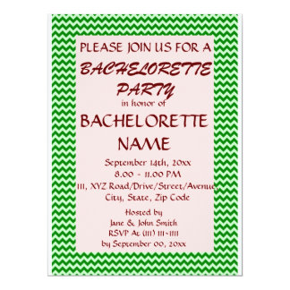 Bachelorette Party - Green Zigzag, Pink Background 6.5x8.75 Paper Invitation Card